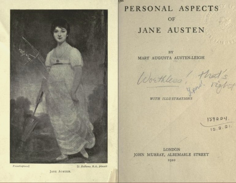 Frontispiece and title page of Personal Aspects of Jane Austen (1920)