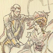 Closeup of illustration from Sense and Sensibility by Maximilien Vox (1933)