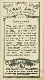 Jane Austen cigarette card (back), Carerras Tobacco (1929)