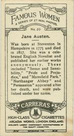 Jane Austen cigarette card (back), Carerras Tobacco (1929)