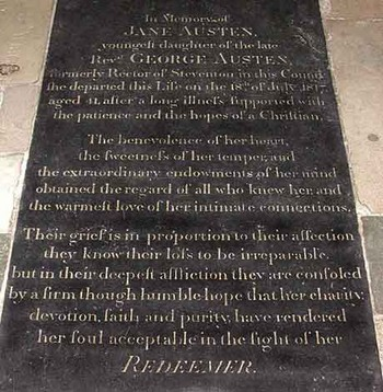 Jane Austen's grave stone, Winchester Cathedral
