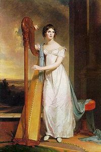 Lady with a harp, Eliza Ridgely, by Thomas Sully (1818)