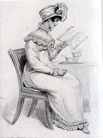 Illustration of a morning dress from La Belle Assemblee (1813)