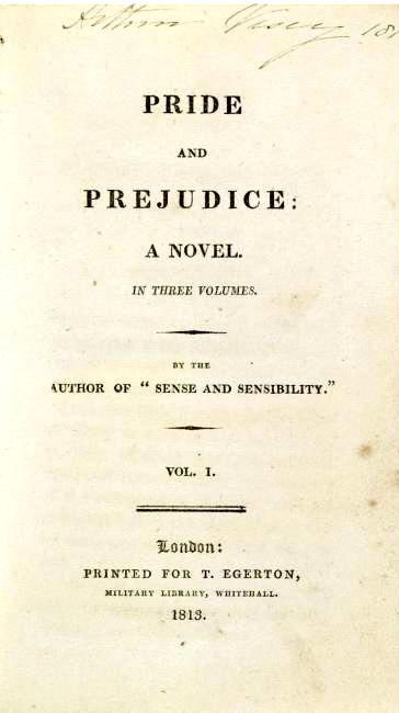 Title page from a first edition of Pride and Prejudice (1813)