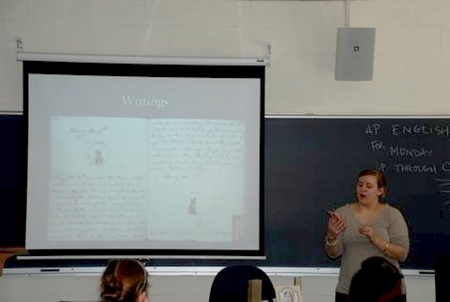 Virginia Claire speaking to students about Jane Austen (2009)