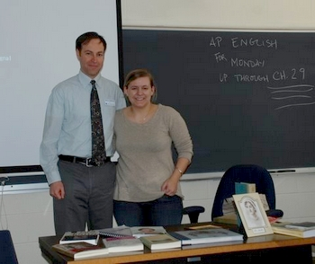 Virginia Claire with her former teacher Dr. Belknap of St. Mary's High School (2009)