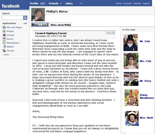 Mr. Elton's Facebook Page Notes