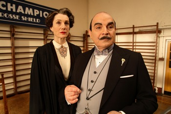 Image from Hercule Poirot: A Cat Among Pigeons: Harriet Walter and David Suchet © 2009 MASTERPIECE