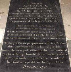 Jane Austen's gravestone at Winchester Cathedral