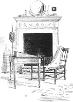 Illustration of Jane Austen's writing desk, by Ellen G. Hill (1923)