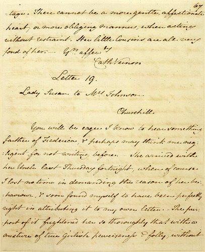 Manuscript of Lady Susan, Letter 19