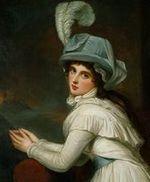 Detail of portrait of Emma Hart by George Romney (1791)