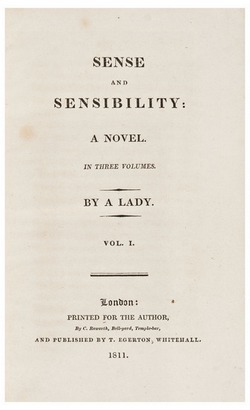 Title page of first edition of Sense and Sensibility (1811)