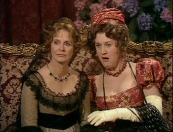 Image from Sense and Sensibility 1971: Isabel Dean as Mrs. Dashwood and Patricia Routledge as Mrs. Jennings © BBC Warner 2009