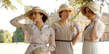 Image from Downton Abbey Season 1: The Crawley sisters: Jessica Brown-Findlay, Michelle Dockery and Laura Carmichael© Carnival Film & Television Limited 2010 for MASTERPIECE