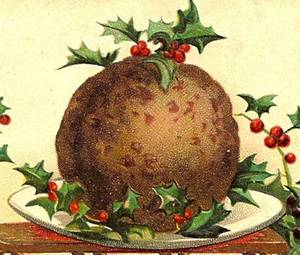 English Christmas pudding decorated with holly