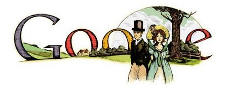 Jane Austen Birthday banner from Google 2010