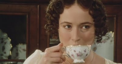 Jennifer Ehle as Elizabeth Bennet sipping tea in Pride and Prejudice 1995