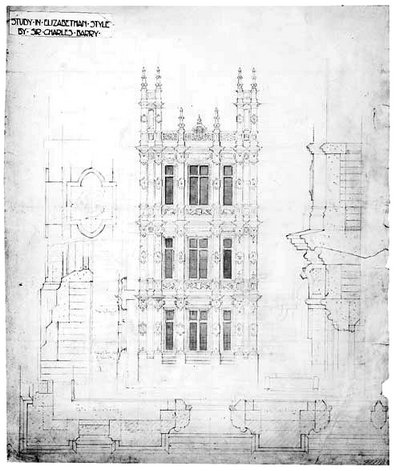 Design for Highclere Castle, study of Elizabethan style by Sir Charles Barry (1842)