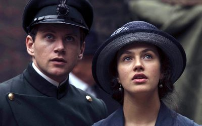 Image from Downton Abbey Season 1: Jessica Brown-Findlay as Lady Sybil Crawley and Allen Leech as Tom Branson © Carnival Film & Television Limited 2010 for MASTERPIECE