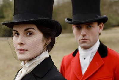 Image from Downton Abbey Season 1: Michelle Dockery as Lady Mary Crawley and Brendan Patrick as Evelyn Napier © Carnival Film & Television Limited 2010 for MASTERPIECE