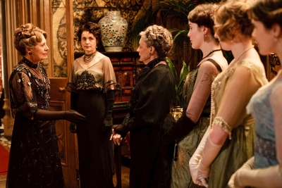 Penelope Wilton as Isobel Crawley and Maggie Smith as Violet, Dowager Countess of Grantham in Downton Abbey (2010)