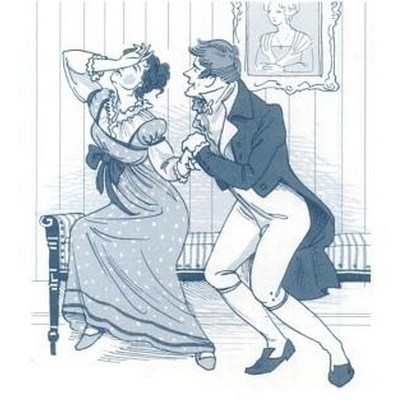 Illustration by Kathryn Rathke from The Jane Austen Handbook: Proper Life Skills from Regency England, by Margaret C. Sullivan (2011) pg 120