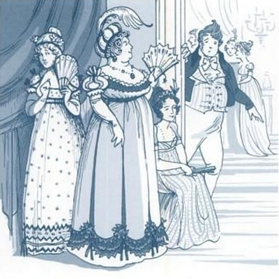 Illustration by Kathryn Rathke from The Jane Austen Handbook: Proper Life Skills from Regency England, by Margaret C. Sullivan (2011) pg 165