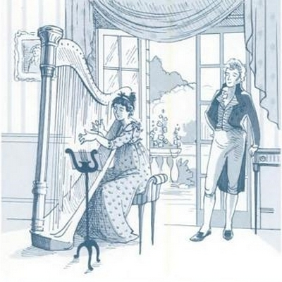 Illustration by Kathryn Rathke from The Jane Austen Handbook: Proper Life Skills from Regency England, by Margaret C. Sullivan (2011) pg 17