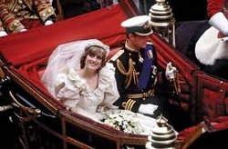 Prince Charles and Princess Diana in their Royal wedding carriage (1981)