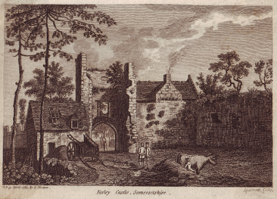Vintage engraving of Farley Castle, Somersetshire, England