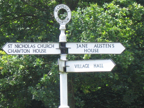 All roads lead to Jane Austen (Chawton road sign)