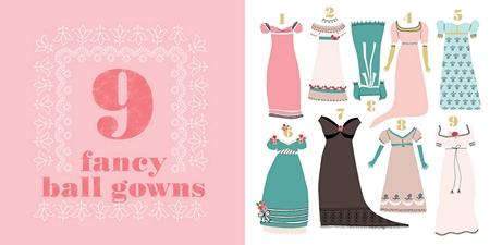 Pride & Prejudice: Little Miss Austen, illustration, 9 fancy ball gowns