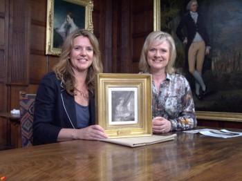 Martha Kearney and Prof. Paula Byren with possible Jane Austen portrait (2011