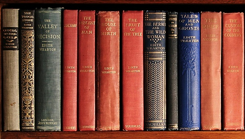 Edith Wharton's copies of her works at The Mount. © Photo by David Dashiell