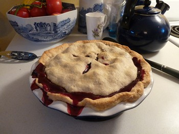 Blackberry pie for desert at Woodston Cottage (2012)