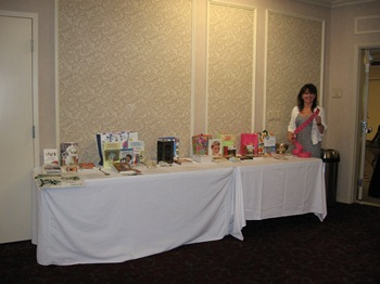 Julie Arnold with the raffle tickets for the JASNA Puget Sound raffle (2012)