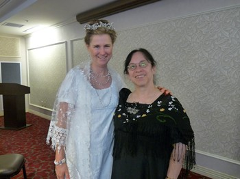 "Authors Syrie James and Diana Birchall after play ""You are Passionate, Jane"" (2012)"