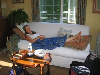 Syrie James at Woodston Cottage after a day of shopping in Snohomish (2012)