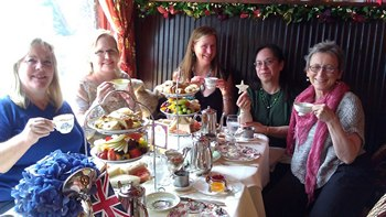 Tea at the Queen Mary Tea Room with Shannon Winslow, Laurel Ann Nattress, Syrie James, Diana Birchall and Susan Mason-Milks (2012)