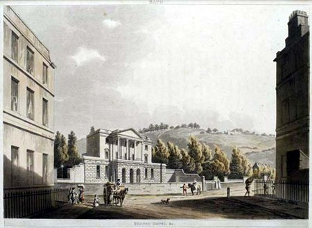 Front entrance of Sydney Hotel & Gardens, Bath, England circa 1800