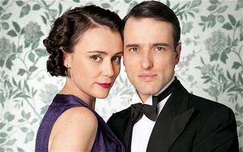 Image from Upstairs Downstairs Season 2:  Keeley Hawes and Edward Stoppard Lord & Lady Holland© 2011 MASTERPIECE