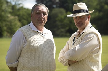 Downton Abbey Season 3: Jim Carter as Mr. Carson and Hugh Bonneville as Robert  Crawley (2012)