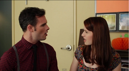 Image from the Lizzie Bennet Diaries: Lizzie and Darcy porposal scene