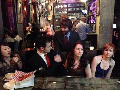 The Lizzie Bennet Diaries: Finale: cast at bar © 2013 The Lizzie Bennet Diaries