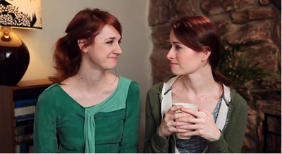 Image from The Lizzie Bennet Diaries: Jane and Lizzie drink tea © 2013 The Lizzie Bennet Diaries