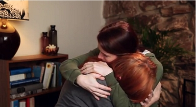Image from The Lizzie Bennet Diaries: Lydia and Lizzie console one another © 2013 The Lizzie Bennet Diaries