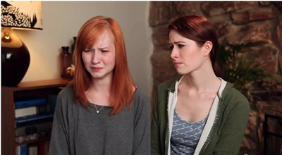 Image from The Lizzie Bennet Diaries: Lydia and Lizzie sad © 2013 The Lizzie Bennet Diaries