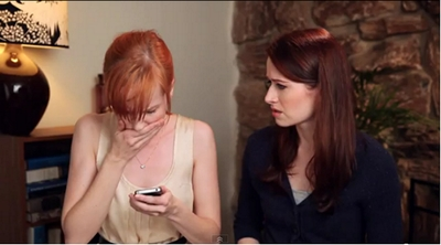Image from The Lizzie Bennet Diaries: Lydia discovers George's video © 2013 The Lizzie Bennet Diaries