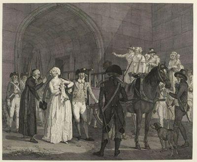 """Anonymous, """"Marie-Antoinette montant dans la charette."""" Engraving. Musée de la Révolution francaise"""